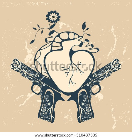 Vintage style emblem with human heart and two revolvers. vector illustration - stock vector