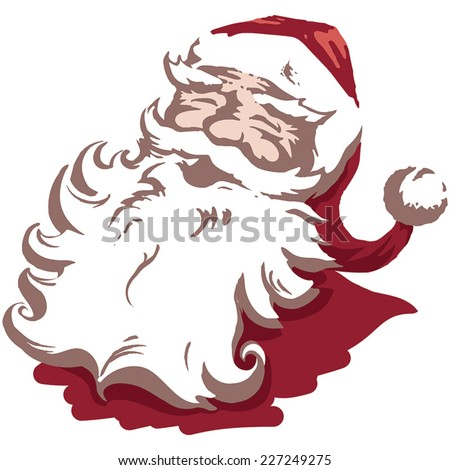 Vintage style Father Christmas / Santa Claus flat colour vector illustration Xmas card. Fully adjustable and scalable. - stock vector