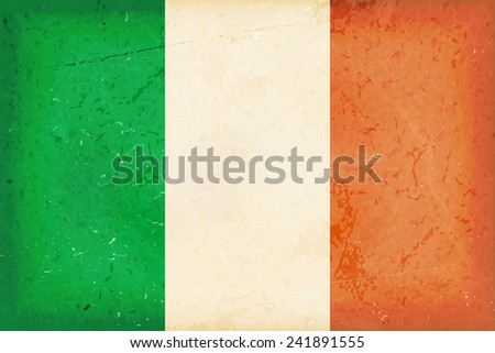 Vintage style flag of the Republic of Ireland. Grunge Elements give it an used and dirty feeling. Hoist (width) / Fly (length) of the flag = 1 to 2 - stock vector