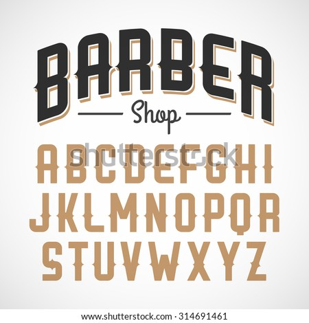 Vintage style font - stock vector