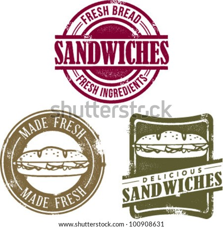 Vintage Style Fresh Deli Sandwich Stamps - stock vector