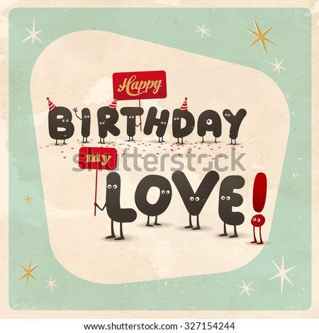 Vintage style funny birthday card happy stock vector 327154244 vintage style funny birthday card happy birthday love editable grunge effects can bookmarktalkfo