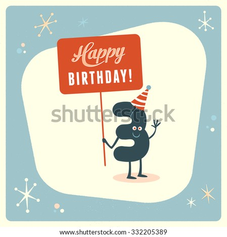 Vintage style funny 3rd birthday Card. - stock vector