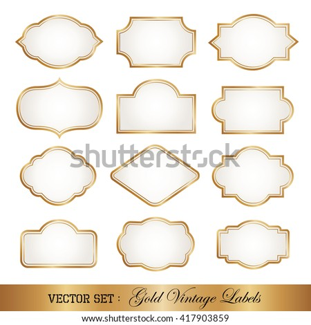 Vintage style golden frames. - stock vector