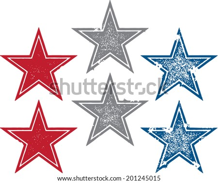 Vintage Style Grunge Vector Stars - stock vector
