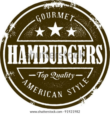 Vintage Style Hamburger Stamp - stock vector