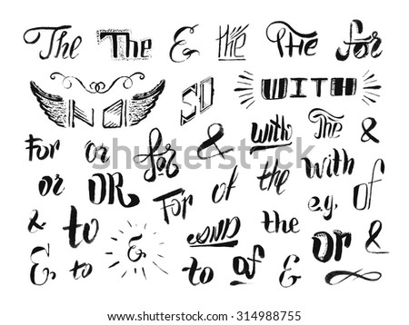 Vintage style hand drawn ampersands and catchwords. The, for, of, or, to, with, so, no, decorative elements. Design elements collection for greeting card or invitation. Vector illustration. - stock vector