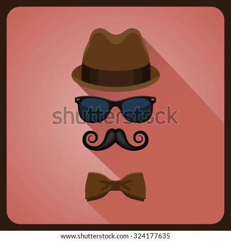 Vintage style icon of hat, mustaches, glasses and a bow tie - stock vector