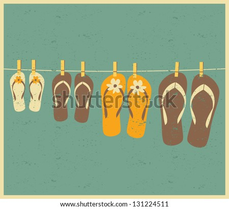 Vintage style illustration of four pairs of flip flops. Family vacation concept. - stock vector