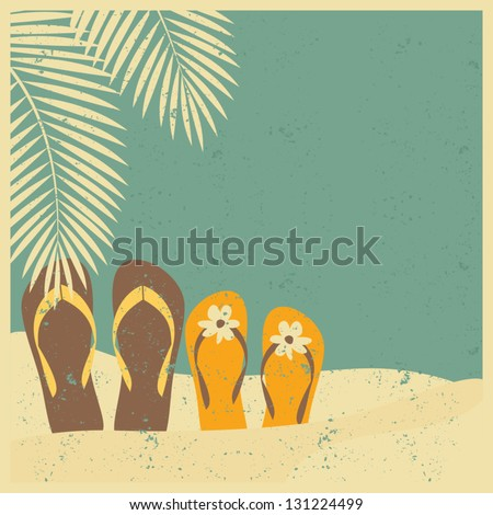 Vintage style illustration of two pairs of flip flops on the beach. - stock vector