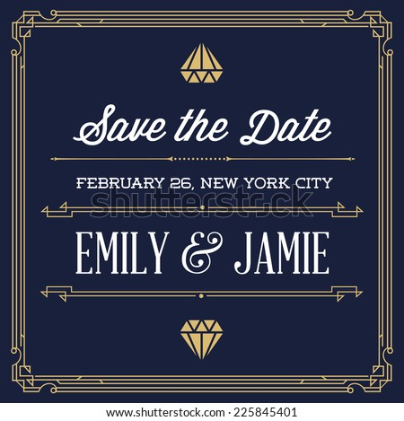 Vintage Style Invitation for Wedding Save the Day in Art Deco or Nouveau Epoch 1920's Gangster Era Vector - stock vector