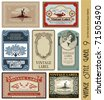 vintage style labels on different topics for decoration and design - stock photo