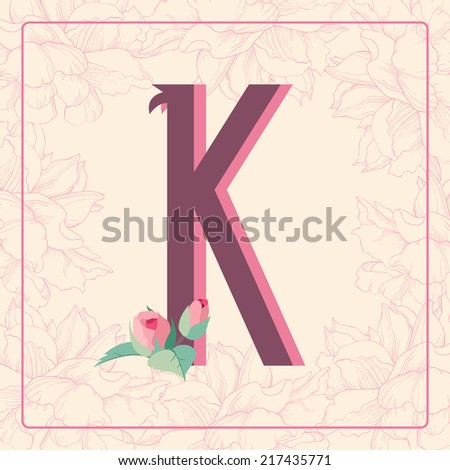 K Letter In Rose Vintage style letter K with