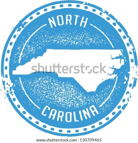 Vintage Style North Carolina USA State Stamp - stock vector