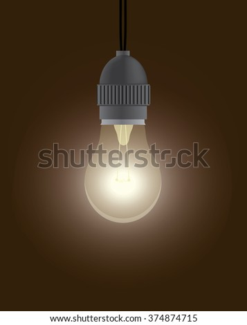 Vintage style one dazzling light bulb. - stock vector