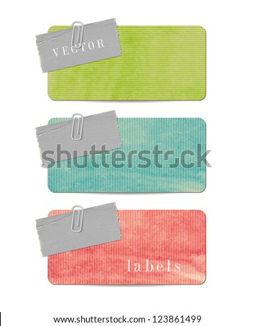 Vintage style paper banners with paper tags attached  with paper clips - stock vector