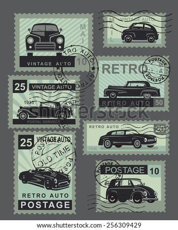 vintage style retro cars illustration vector stamps - stock vector