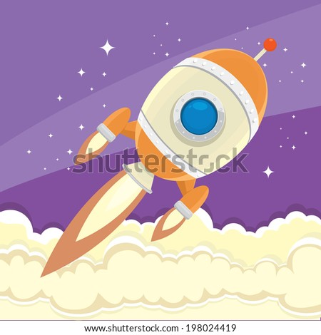vintage style retro poster illustration of Space rocket in space. vector illustration