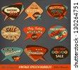 Vintage Style Speech Bubbles Cards - stock vector