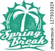 Vintage Style Spring Break Vacation Stamp - stock photo
