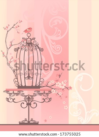 Vintage style spring season room with bird cage - tender pastel shades of pink and yellow with place for your text - stock vector