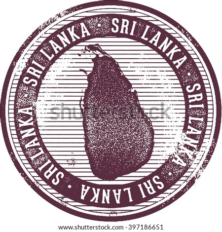 Vintage Style Sri Lanka Country Stamp - stock vector