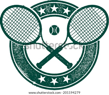 Vintage Style Tennis Sport Stamp - stock vector