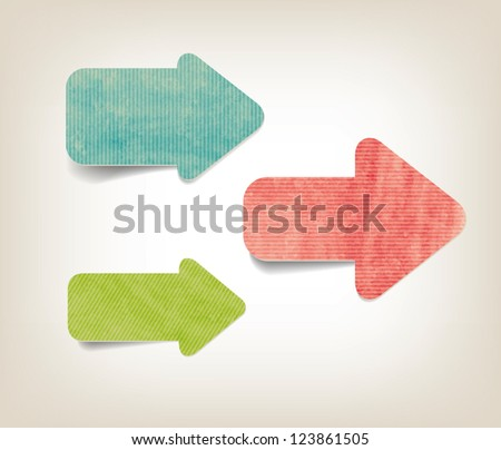 Vintage style textured colored paper cardboard arrows - stock vector