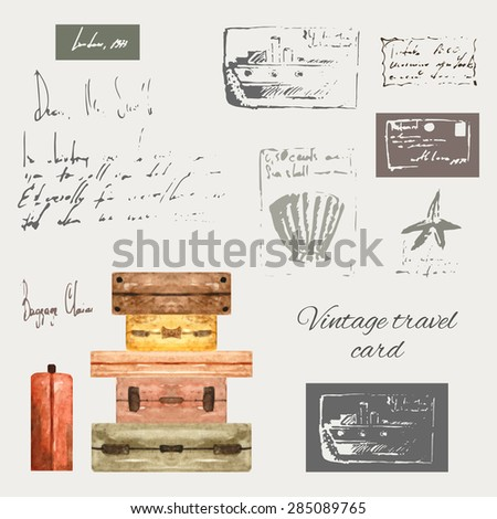 Vintage style travel elements including luggage, shell, sea star, ship, stamps and frames made in doodle and watercolor technique, hand drawn retro card - stock vector