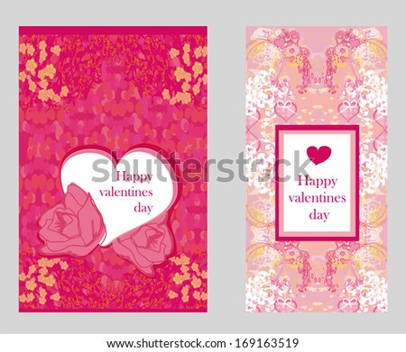 Vintage style Valentine Day Card Set - stock vector