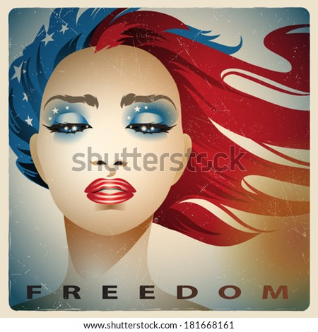 Vintage style vector illustration of a girl with colors of the United States flag - stock vector