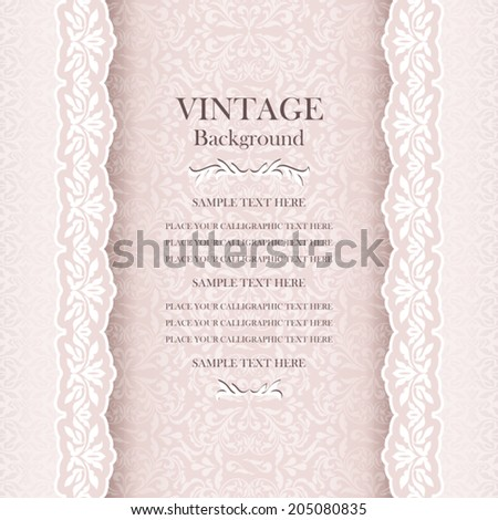 Vintage style wedding background, elegant greeting card, beautiful rose invitation, page cover with lace, ornamental pattern for design - stock vector