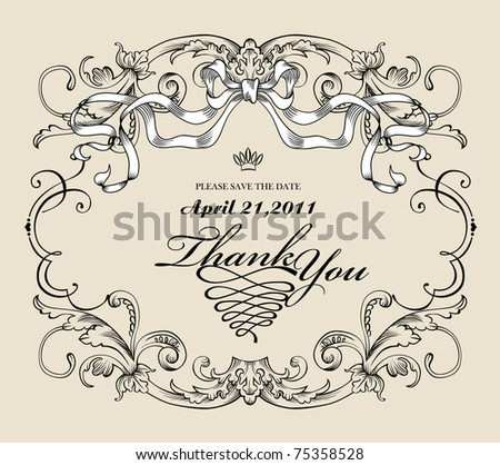 vintage style wedding card or invitation card - stock vector