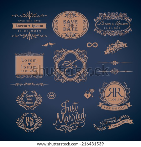 Vintage Style Wedding Monogram symbol border and frames - stock vector