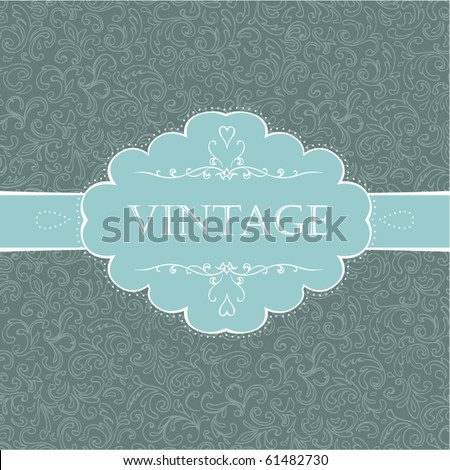Vintage styled card with floral ornament background. - stock vector