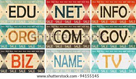 Vintage Styled Domain names Label collection - stock vector