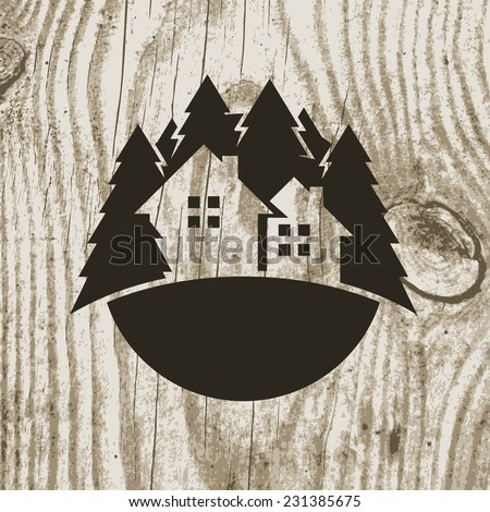 Vintage styled eco house badge with tree on wooden texture background. Vector logo design template.  Design concept for real estate agencies, hotels, cottages rent. - stock vector