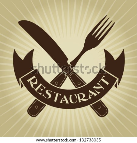 Vintage Styled knife and fork / Restaurant Seal - stock vector