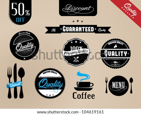Vintage Styled Label collection design, premium and high quality,Restaurant vintage labels - stock vector