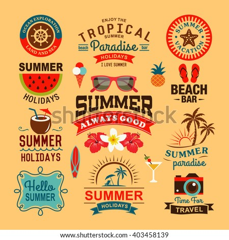 Vintage summer design and typography design with labels, posters, icons, logos, element set. - stock vector