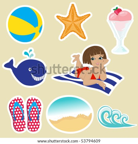 Vintage summer icons. Vector format. - stock vector