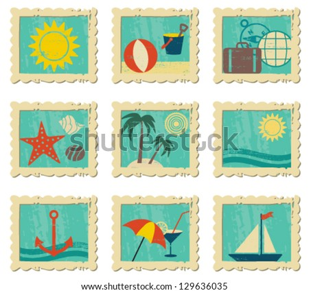 Vintage summer related icons in frames