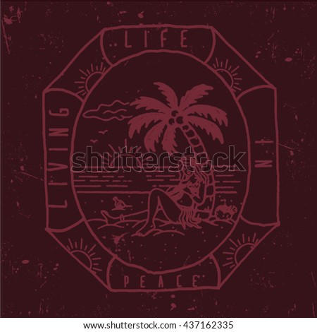Vintage summer surf print with typography design, palm trees, surfboard and lettering Surf Club Miami. Tropical vector set, fashion print, T-shirt design surf aloha illustration - stock vector