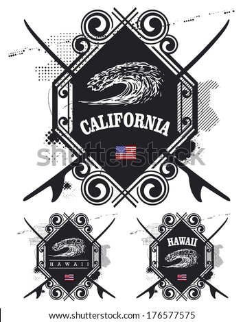 vintage summer surf shields with big wave - stock vector