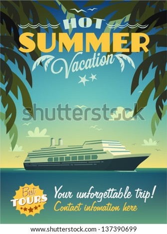 Vintage summer vacation poster - stock vector