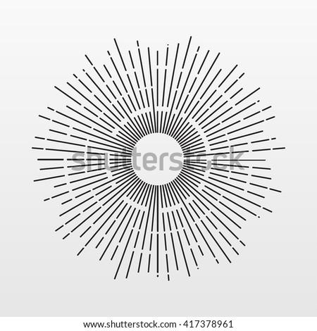 Vintage Sun rays isolated on background. Modern simple flat fireworks sign. Business, internet concept. Trendy line vector starburst symbol for website design, button, mobile app. Logo illustration  - stock vector