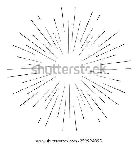 Vintage sunburst. Hand drawn vector illustration - stock vector