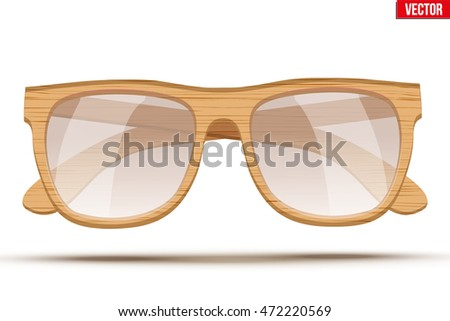 Vintage sunglasses with wooden frame and transparent glass. Retro style. Vector Illustration isolated on white background.