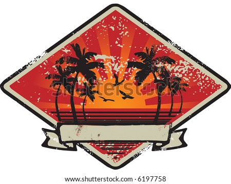 vintage sunset emblem - stock vector
