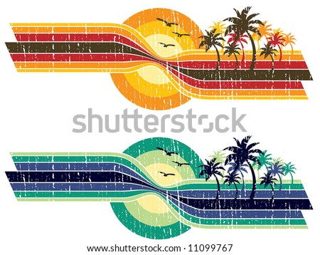 vintage sunset strip - stock vector